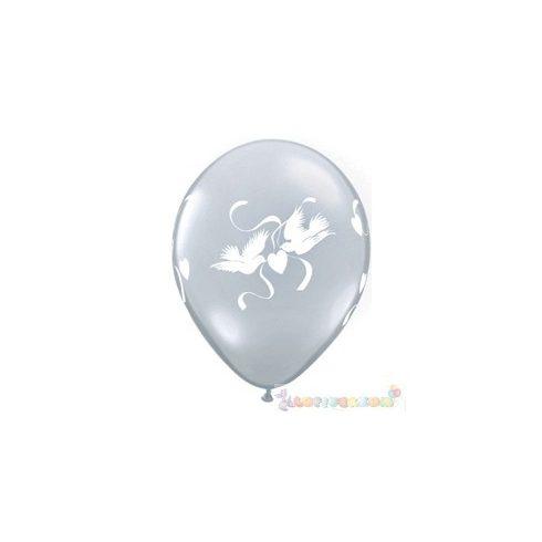 28 cm-es latex Qualatex Love Doves Diamond Clear Esküvői Léggömb
