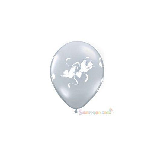 28 cm-es latex Qualatex Love Doves Diamond Clear Esküvői Léggömb Darabra