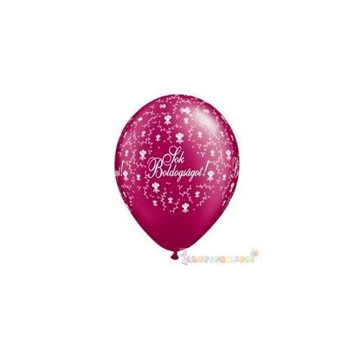 28 cm-es latex Qualatex Sok Boldogságot Pearl Burgundy Esküvői Léggömb darabra