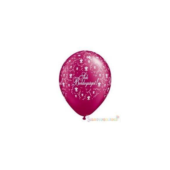 28 cm-es latex Qualatex Sok Boldogságot Pearl Burgundy Esküvői Léggömb
