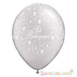 28 cm-es latex Qualatex Sok Boldogságot Pearl White Esküvői Léggömb