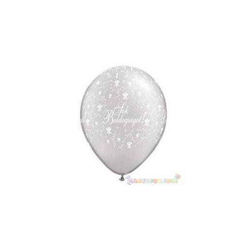 28 cm-es latex Qualatex Sok Boldogságot Pearl White Esküvői Léggömb darabra