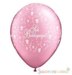28 cm-es latex Qualatex Sok Boldogságot Pearl Pink EsküvőLéggömb