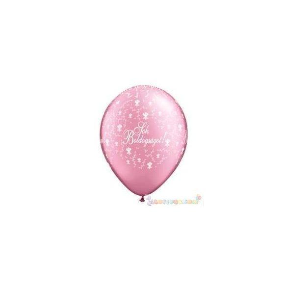 28 cm-es latex Qualatex Sok Boldogságot Pearl Pink Esküvői Léggömb