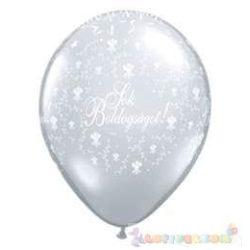 28 cm-es latex Qualatex Sok Boldogságot Diamond Clear Esküvői Léggömb
