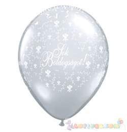 28 cm-es latex Qualatex Sok Boldogságot Diamond Clear EsküvőLéggömb