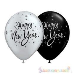 Happy New Year feliratú Szilveszterléggömb ezüst, fekete - 28 cm