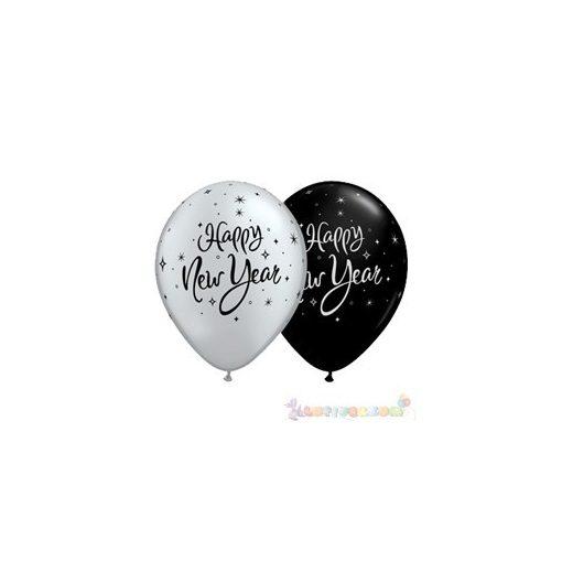 28 cm-es Happy New Year feliratú Szilveszteri Léggömb darabra ezüst, fekete