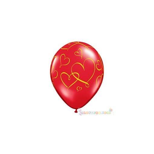 28 cm-es arany szív mintás latex Lufi Darabra