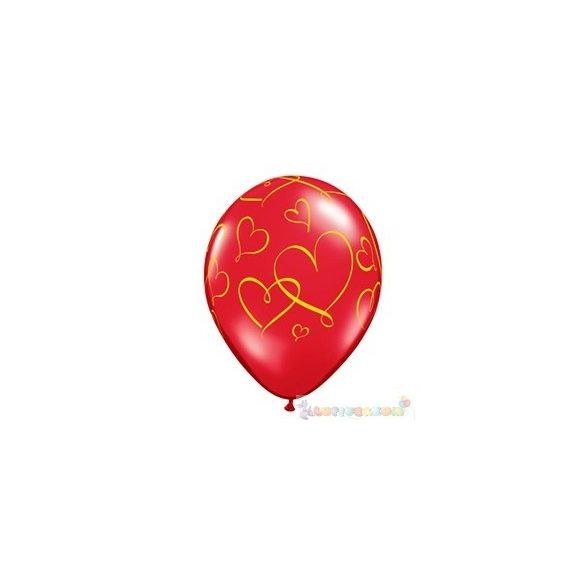 28 cm-es arany szív mintás latex lufi