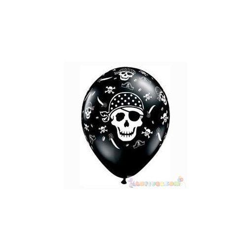 28 cm-es Pirate Skull Koponyás Kalózos Onyx Black Lufi darabra