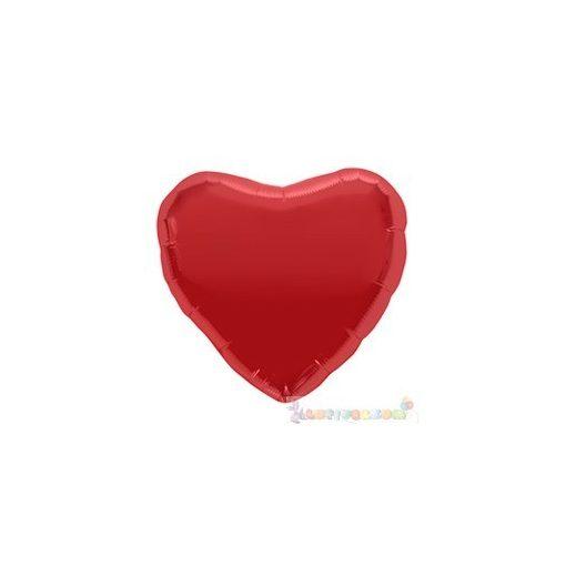 Piros szív fólia léggömb pálcán - 20 cm