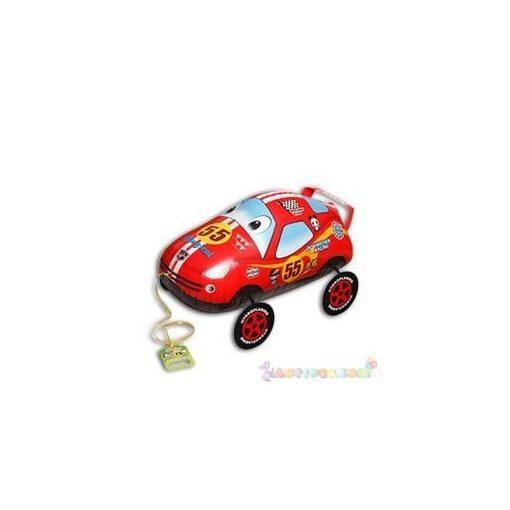 Sétáló piros versenyautó fólia lufi - 60 cm