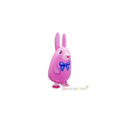 Sétáló rózsaszín nyuszi fólia lufi - 50 cm
