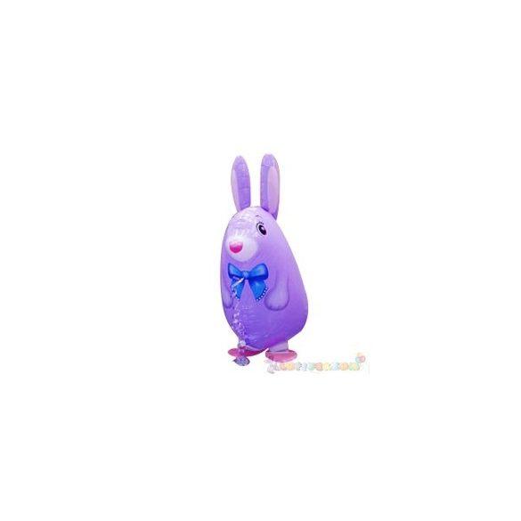Sétáló lila nyuszi fólia lufi - 50 cm