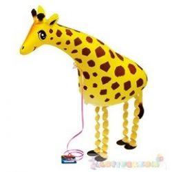Sétáló zsiráf fólia lufi - 70 cm