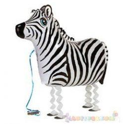 Sétáló zebra fólia lufi - 64 cm