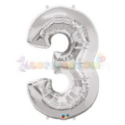 86 cm-es számos fólia lufi -  ezüst 3