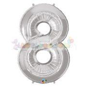 86 cm-es számos fólia lufi -  ezüst 8