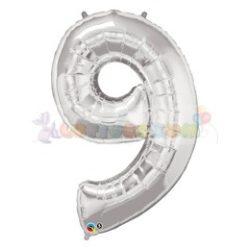 86 cm-es számos fólia lufi -  ezüst 9