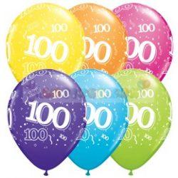 100-as számmal printelt Születésnapi számos léggömb - 28 cm - 1darab