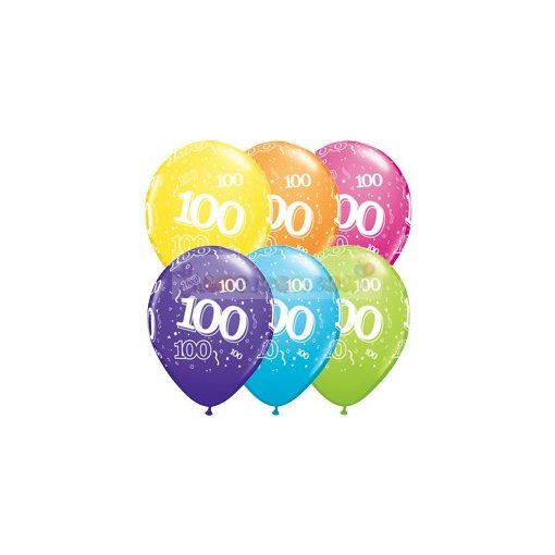 100-as számmal printelt Születésnapi számos léggömb - 28 cm