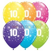 10-es számmal printelt Születésnapi számos léggömb - 28 cm - 1darab