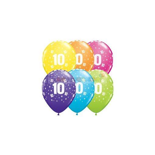 10-es számmal printelt Születésnapi számos léggömb - 28 cm