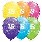 18-as számmal printelt Születésnapi számos léggömb - 28 cm - 1darab