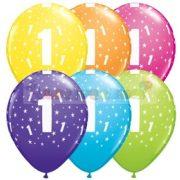 1-es számmal printelt Születésnapi számos léggömb - 28 cm - 1darab