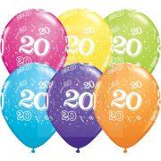 20-as számmal printelt Születésnapi számos léggömb - 28 cm - 1darab