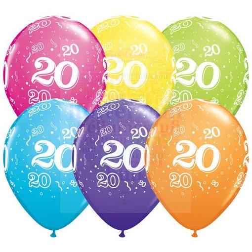 20-as számmal printelt Születésnapi számos léggömb - 28 cm