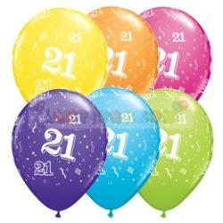 21-es számmal printelt Születésnapi számos léggömb - 28 cm - 1darab