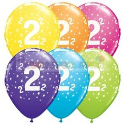 2-es számmal printelt Születésnapi számos léggömb - 28 cm - 1darab