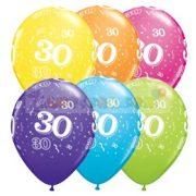30-as számmal printelt Születésnapi számos léggömb - 28 cm - 1darab
