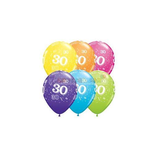 30-as számmal printelt Születésnapi számos léggömb - 28 cm