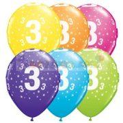 3-as számmal printelt Születésnapi számos léggömb - 28 cm - 1darab