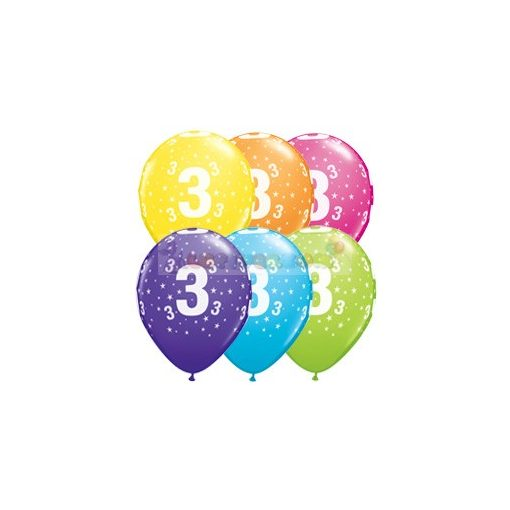 3-as számmal printelt Születésnapi számos léggömb - 28 cm
