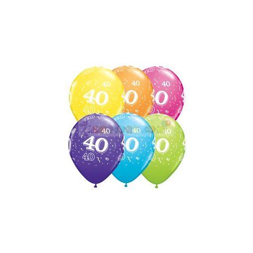 40-es számmal printelt Születésnapi számos léggömb - 28 cm
