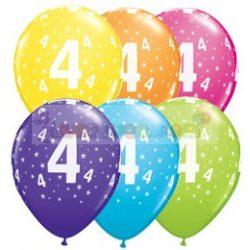 4-es számmal printelt Születésnapi számos léggömb - 28 cm - 1darab