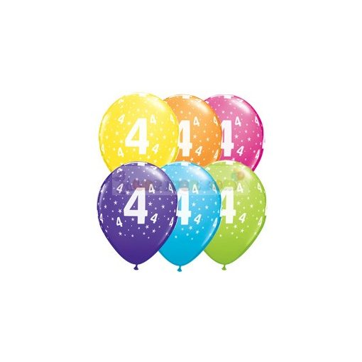 4-es számmal printelt Születésnapi számos léggömb - 28 cm