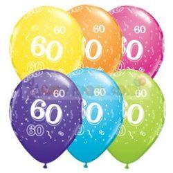 60-as számmal printelt Születésnapi számos léggömb - 28 cm - 1darab