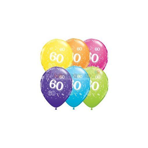 60-as számmal printelt Születésnapi számos léggömb - 28 cm