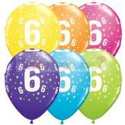 6-os számmal printelt Születésnapi számos léggömb - 28 cm - 1darab