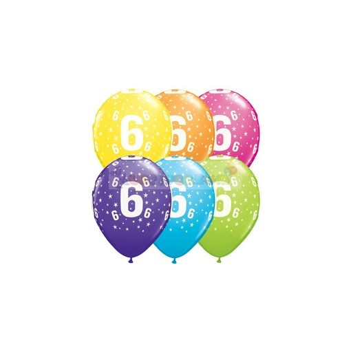6-os számmal printelt Születésnapi számos léggömb - 28 cm