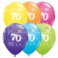 70-es számmal printelt Születésnapi számos léggömb - 28 cm - 1darab
