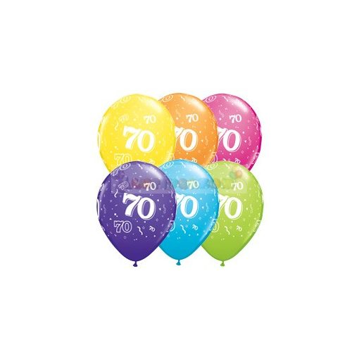 70-es számmal printelt Születésnapi számos léggömb - 28 cm