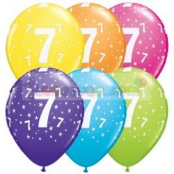7-es számmal printelt Születésnapi számos léggömb - 28 cm - 1darab