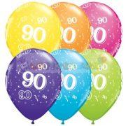 90-es számmal printelt Születésnapi számos léggömb - 28 cm - 1darab