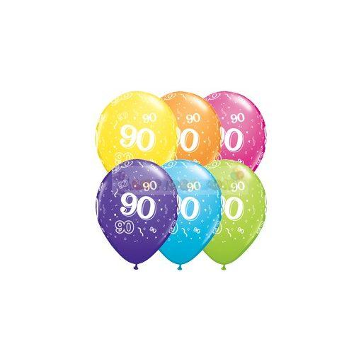 90-es számmal printelt Születésnapi számos léggömb - 28 cm